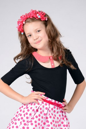 GIRL'S BLACK JERSEY COLLAR TOP - STYLE 0122