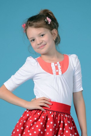 GIRL'S WHITE JERSEY TOP - STYLE 0123
