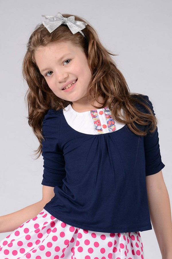 GIRL'S NAVY JERSEY TOP - STYLE 0125