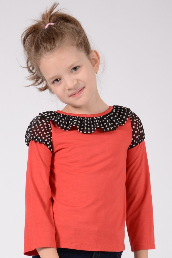 Girl's brick red long sleeve jersey top, style 0134