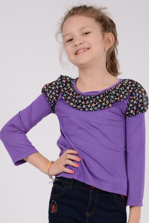 Girl's purple long sleeve jersey top, style 0135