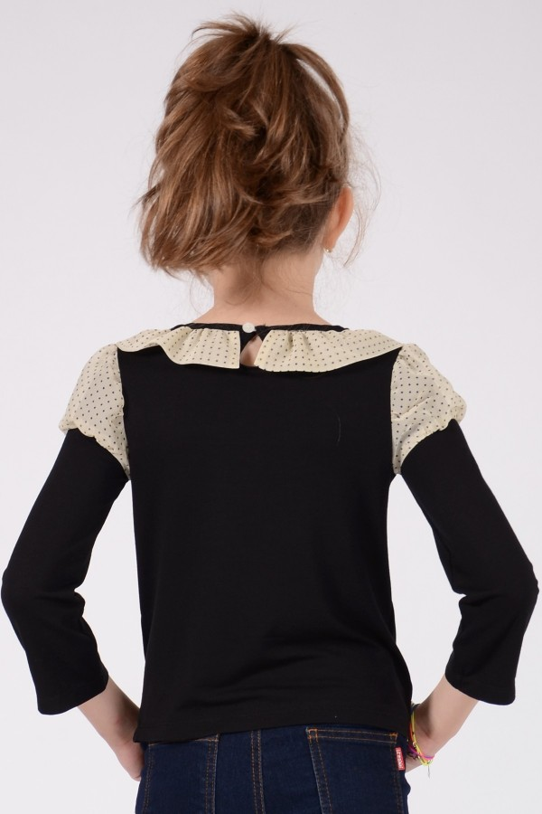 Girl's black long sleeve jersey top, style 0136