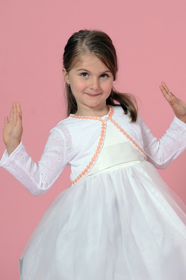 GIRL'S WHITE BOLERO CARDIGAN WITH PINK FLOWER BAND, STYLE 0004