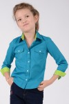 GIRL'S GREEN LONG SLEEVE SHIRT - STYLE 0141