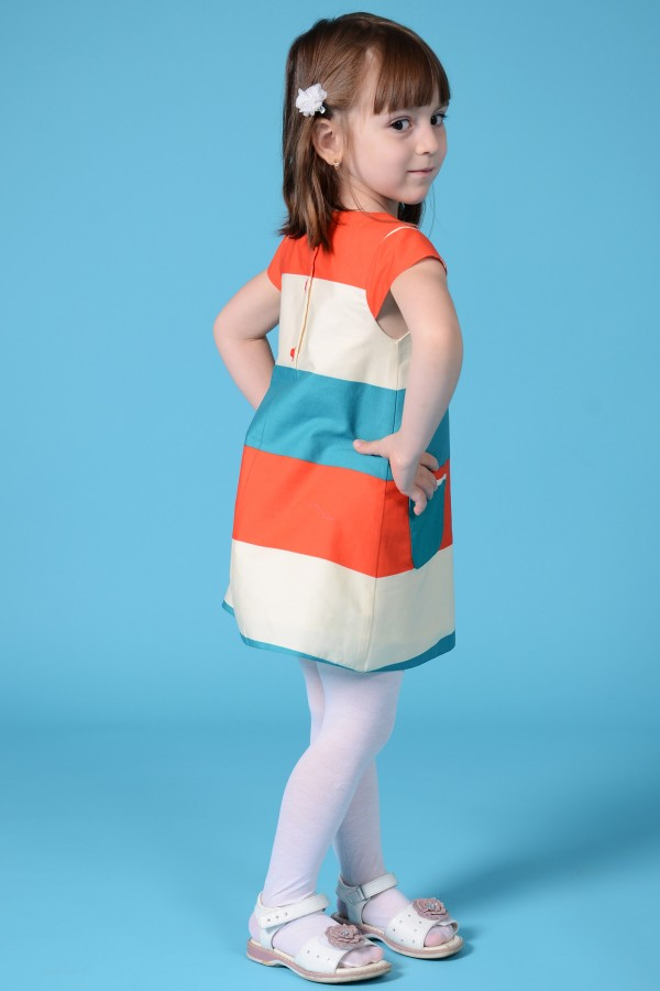 Girl's block red and green dress, style 1326