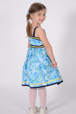 Girl's blue floral print dress with straps, style 1423
