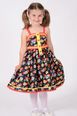 GIRL'S NAVY FLORAL PRINT DRESS WITH STRAPS, STYLE 1426