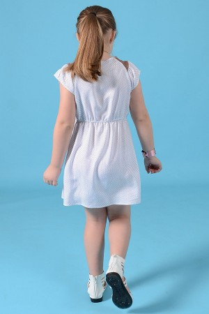 GIRL'S WHITE VISCOSE DRESS STYLE 1489